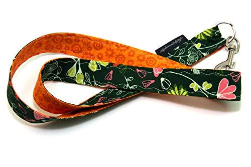 Lieblingsmanufaktur Umhängeband für Schlüssel, Werksausweis & Co. mit Karabiner in vielen individuellen Stoff-Varianten Orange