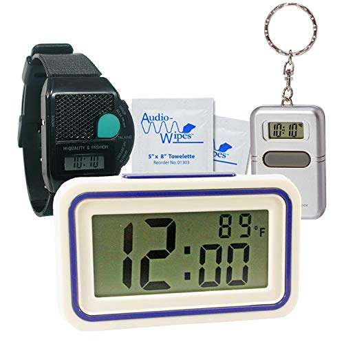 TrueDio Talking Low Vision Kit - Includes Talking Keychain and Talking Watch - with Additional Third Low Vision Item (Curve Clock, Big Button Clock, or Digital Alarm Clock) (w/Talking Digital Clock)