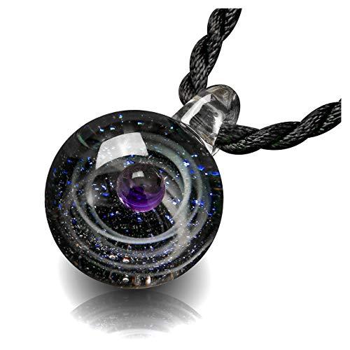 CrystalTears Fantasie Damen Herren Blogger Collier Halskette Universum Galaxie Nebel Planet Kugel Anhänger aus Lampwork Glas mit Schwarz Geflochten Hals Seil (Lila EIN Planeten)