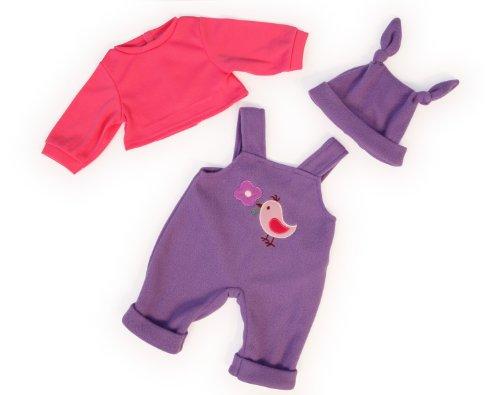 Bayer Design 83856 - Kleidung für Puppen 38 cm, lila Latzhose mit Shirt und Müzte