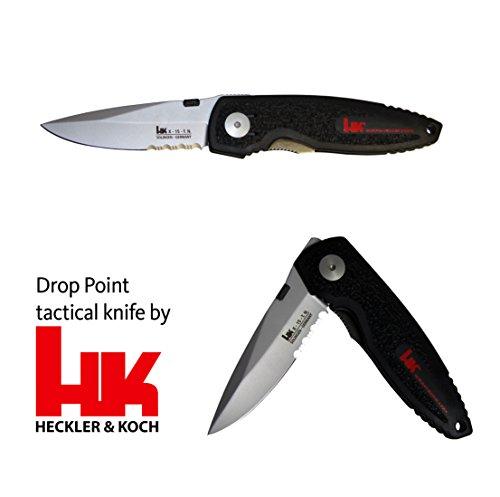 Taktisches Messer von Heckler und Koch Linerlock Drop-Point Clip, Klinge X-15T.N partielle Wellenschliff, Griffbeschalung aus GFK Linerlock mit Öse für Fangriemen Knife perlgestrahlter Oberfläche