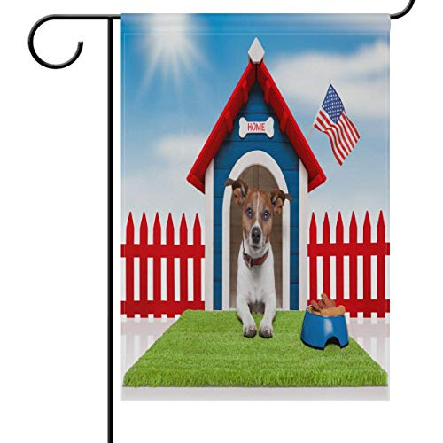 Wamika Dog American Flag Garden Yard Flag Banner House Home Decor 12 x 18 inch, Memorial Day 4 Th July Small Mini Decorative Double Sided Welcome Flags for Holiday Wedding Party Outdoor Outside
