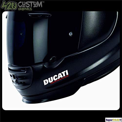 SUPERSTICKI Ducati Performance Motorradhelm Helm Biker Aufkleber Sticker Decal aus Hochleistungsfolie Autoaufkleber Tuningaufkleber für alle glatten Flächen UV und Waschanlagenfest Tuning Profi