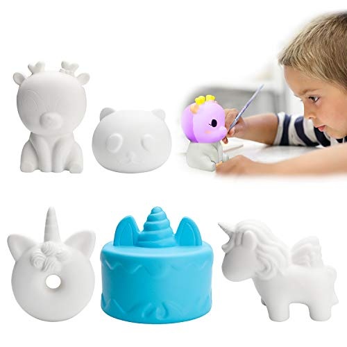WATINC 5 Pcs DIY Paintable Squishies Kawaii Animals Slow Rising Toy, Jumbo Panda, Unicorn Creamy Scent Party Toy Anxiety Relief Toy, Great Gift for Kids, Birthday Party Favors Decorative Props