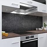One-Wheel   selbstklebende Küchenrückwand   60x50 cm harte PVC Folie   Wandtattoo für Fliesenspiegel Design Stein Grau   Motiv: Beton dunkel