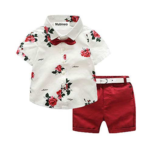 Toddler Little Boy Kids Summer Floral Shirt Bermuda Shorts Outfit Set Clothes (White/Red, 3T)