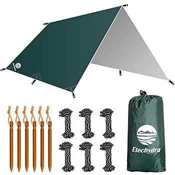 Etechydra Bâche Anti-Pluie 3 x 3m, Camping Bâche Rain Tarp Toile de Tente Ourdoor, randonnée, bâche de Tente de Tente de hamac bâche de Tente, Portables légères, bâche de Tente Verte