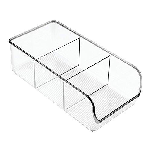 iDesign Organizer cucina con manico, Contenitore cucina in plastica con 3 scomparti di medie misure, Scatola cucina senza coperchio ideale per cassetti e dispensa, trasparente