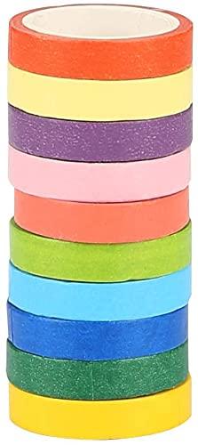 Adkwse Washi Tape Set 10 Rollen DIY Dekorative Regenbogen Klebeband Dekobänder Aufkleber für Kinder und Geschenke Verpackung Halloween, Thanksgiving Day, Weihnachten(Bunt10P)