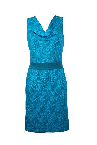 Filosophie Wunderschönes Freizeit Kleid mit femininen Wasserfallkragen und frischen Floral Muster – Casual Chic - Sienna (Blau) (XXL)