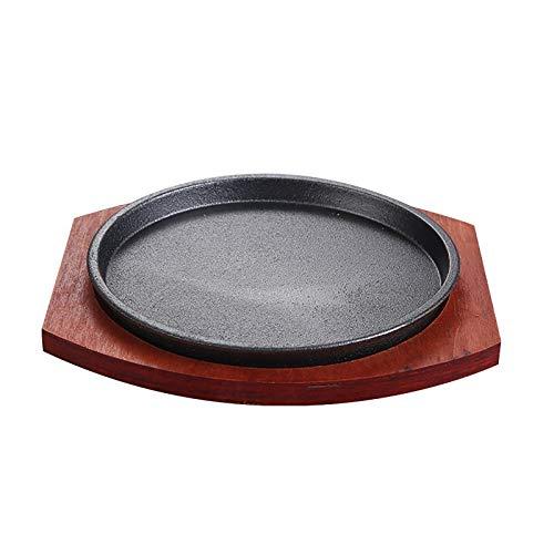 Cast Iron Sizzler Serving Dish/Steak Platter with Wooden Stand, Wood, Wood Undertray Diameter: 23cm, 25cm (Size : 25cm)