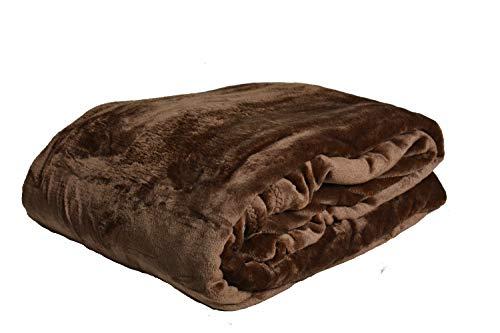NG Distribution Tagesdecke/Überwurf aus luxuriösem Kunstfell, weich, für Bett & Sofa, Doppelbett- oder Kingsize-Größe, Polyester, schokobraun, Double 150 x 200