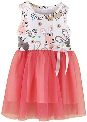 Toddler Newborn Baby Girl Dress Gargantilla sin mangas Easter Bunny Bow Princess Tutu Skirt 1-4 Years Old Girl Birthday Party Dress Sandía Rossared 3 años