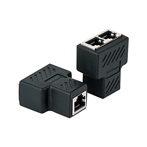 Category 6 Ethernet Module, MACTIS 180° Cat6 RJ45 8-Wire Jack with Unshielded Information Module (2 Pack, 3 Port RJ45 Coupler)