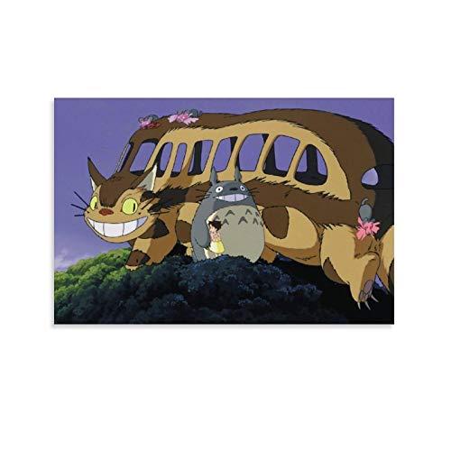 DRAGON VINES Póster de película animada de My Neighbor Totoro Catbus, decoración de pared para dormitorio y sala de estar, 20 x 30 cm