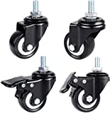 MVPOWER 2 Inch Stem Casters, 4 Pack Threaded Stem Casters PU Rubber Wheels with Brake Lock Heavy Duty Caster...