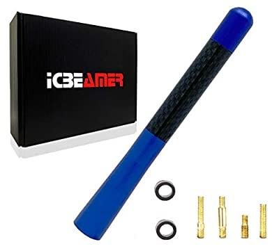 """ICBEAMER 5"""" 127 mm Aluminum Blue w/Real Carbon Fiber Universal AM/FM Radio Antenna Screw-in Stubby Aerial Replacement"""