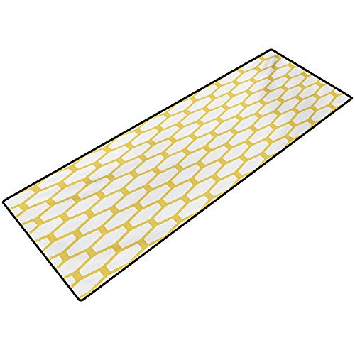 Yellow and White Custom Indoor Doormat Hexagonal Pattern Honeycomb Beehive Simplistic Geometrical Monochrome Printing Mats for Entry, Garage, Patio, High Traffic Areas 24x48 Inch