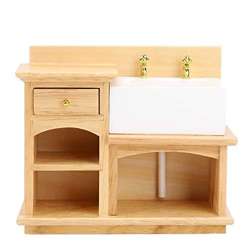 Yinuoday Puppenhauszubehör Miniaturen im Maßstab 1:12 Puppenhausmöbel für DIY Puppenhaus Wohnzimmer Mini Spielzeug Holzspüle für Wohnzimmer Schlafzimmer Simuliertes Zubehör