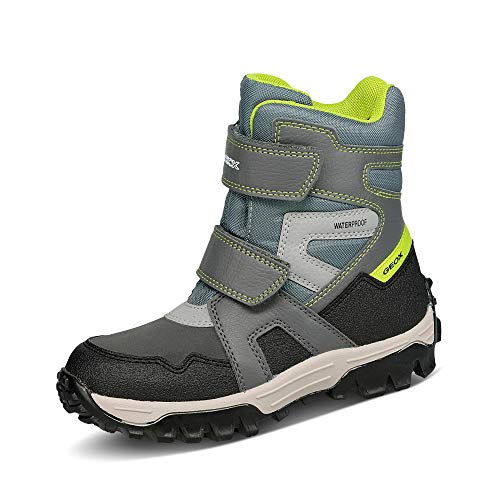 Geox Jungen Boots Himalaya Boy WPF, Kinder Winterstiefel,lose Einlage,wasserdicht, Winter-Boots Outdoor-Kinderschuhe,Grey/Lime,31 EU / 12.5 UK Child