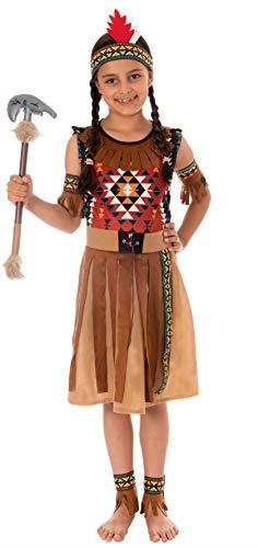 Magicoo - Disfraz de india americana, para niñas, color beis y azul