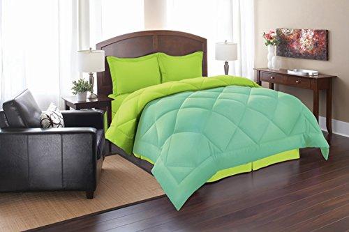 Silky Soft - Goose Down Alternative Reversible 3pc Comforter Set, King, Aqua/Lime