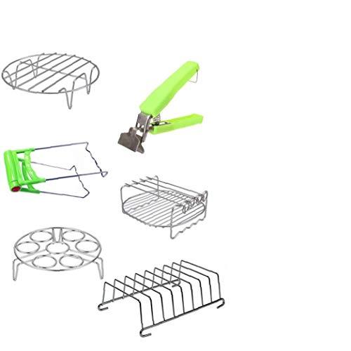 fedsjuihyg Air Fryer Zubehör-Set mit Backständer, Metallhalter, Anti-Hot Bowl Clip, Gedämpfter Ei Ständer, 6pcs, 8 Zoll