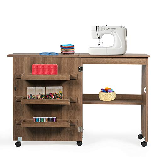 "Giantex Folding Sewing Craft Table, Sewing Craft Cart with Storage Shelves and Lockable Casters Folding Sewing Table for Apartment Small Spaces (Brown, 46""x16""x31'')"