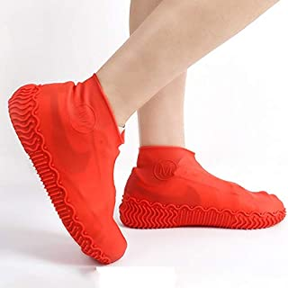 SYLOZ Silicone Rain Boots, Student Silicone Waterproof Rain Boots, Thick Non-Slip Wear-Resistant Rain Boots (Color : Red, Size : L)