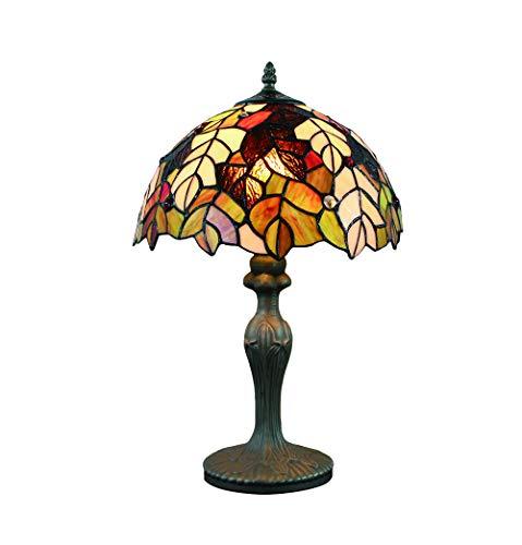 Tokira Tiffany Stijl 12 Inch Blad Tafellamp, Glas in Lood Nachtlampje, Esdoornblad Patroon Handgemaakte Slaapkamer Bedlampje Bar Decoratie Lamp
