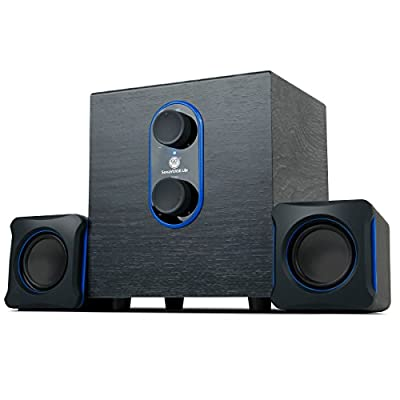 GOgroove SonaVERSE LBr 2.1 PC Speakers System with Subwoofer - USB Powered with 3.5mm AUX Audio Input, Bass/Volume Control, 11W RMS - Ideal for Desktop, Office, Projector, Laptop and More from GO GROOVE