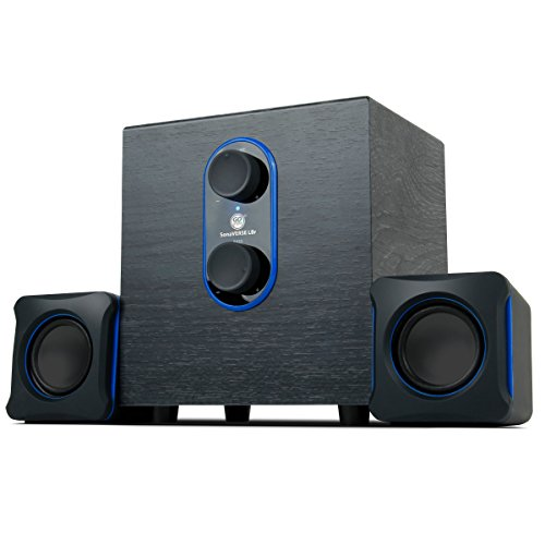 GOgroove SonaVERSE LBr 2.1 Computer Speakers with Subwoofer - USB Powered PC Speaker System with 3.5mm AUX Audio Input, Bass/Volume Control Knobs, 11W RMS - Compact Size for Laptop, Small Desk