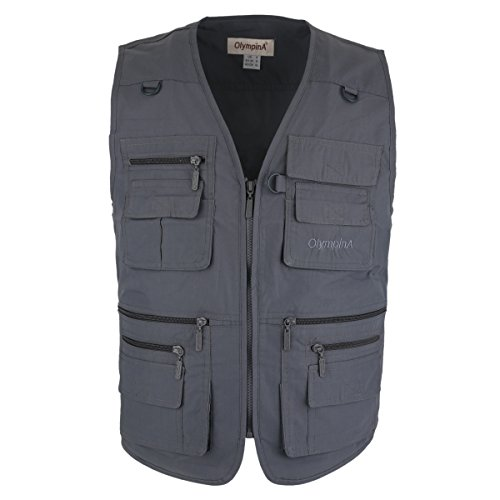 LUSI MADAM Men's Poplin Outdoors Travel Sports Pockets Vest US 2XL/Asia 5XL Gray