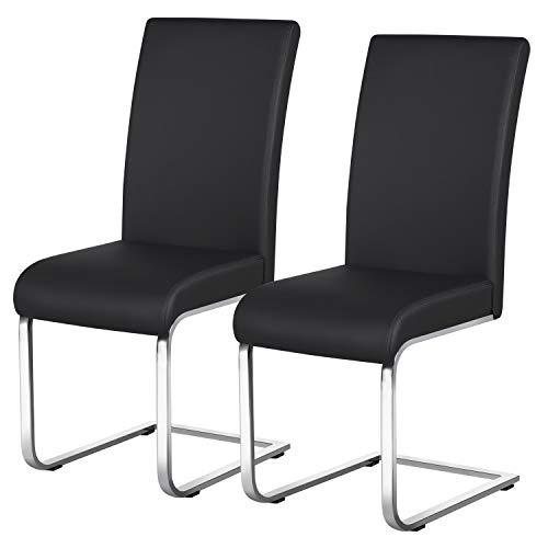 Yaheetech Esszimmerstühle 2er Set Esszimmerstuhl Schwingstuhl Essgruppe, 135 kg belastbar schwarz Kunstleder
