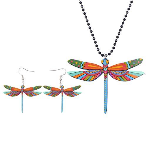 ZDJDMZ Conjunto De Pendientes Y Collar para Mujer Conjuntos De Joyas De Libélula Acrílica Collar Pendientes Joyería Animal De Moda Insecto para Mujer Niña