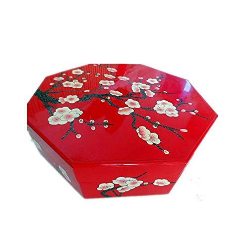 ALIANG Cajas de joyería, artículos de Laca Push Light, Caja de Dulces de Ciruela Pintada a Mano, Caja de Frutos Secos, Caja de Almacenamiento Chino, Caja de joyería de Madera
