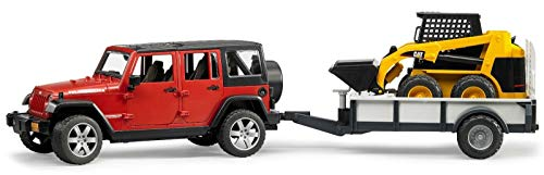 Bruder 02925 TOYS Jeep Wrangler Unlimited Rubicon mit Einachsanhänger und CAT Kompaktlader