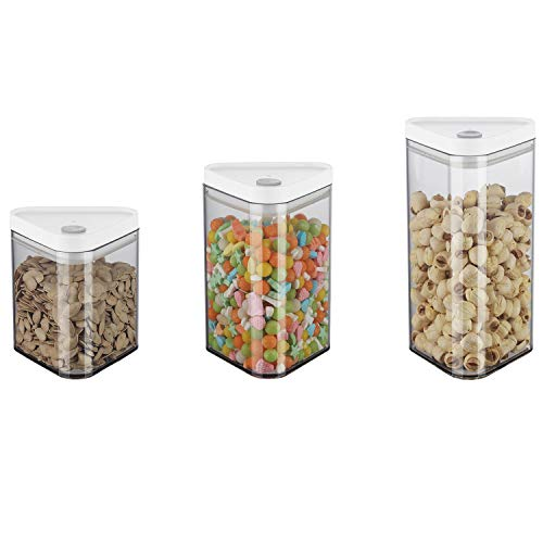 Cereal Storage Container Set, BPA Free Plastic Airtight Food Storage Containers for Cereal, Snacks,Coffee,Milk Tea, fruit Powder and Sugar, 3 Piece Set Cereal Dispensers