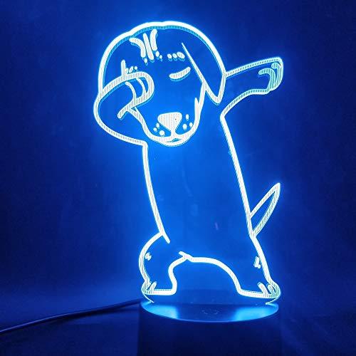 Sanzangtang Led-nachtlampje, 3D-visionzeven, kleuren-afstandsbediening, leuk speelgoed, mooie hond sfeer, kleur nachtlampje met afstandsbediening, voor decoratieve ruimtes, nachtlampje voor volwassenen