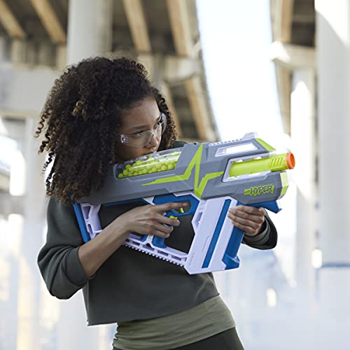 NERF Hyper Mach-100 Fully Motorized Blaster, 80 Hyper Rounds, Eyewear, Up to 110 FPS Velocity, Easy Reload, Holds Up to 100 Rounds