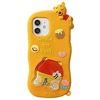 Soft Silicone Squeeze Glitter Liquid Flowing Cases for Apple iPhone 12 iPhone12 Winnie The Pooh Bear Honey Bee 3D Walt Disney Cartoon Cute Lovely Fun Girls Kids Teens