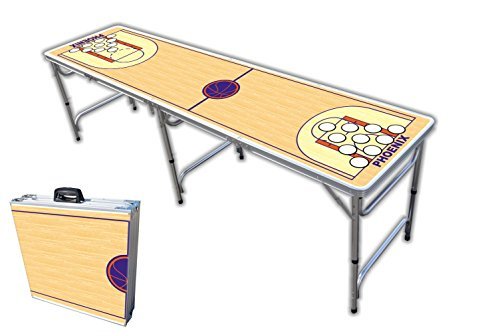 Purchase 8-Foot Professional Beer Pong Table w/Holes - Phoenix Basketball Court Graphic