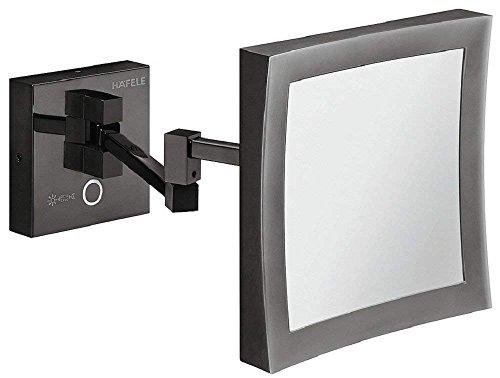 Gedotec Bad-Spiegel LED-Beleuchtung Kosmetikspiegel schwarz Badezimmer-Spiegel mit Lampe | LED-Leuchte inkl. 5-fach-Vergrößerung | H1050 | 1 Stück - Wand-Spiegel mit LED-Beleuchtung inkl. Schrauben