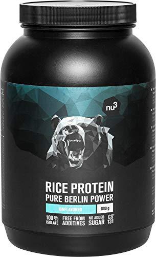nu3 Proteína de arroz | 800g de fórmula sabor neutral | 80% (24g) de proteína vegetal | Polvo para batido proteico sin lactosa y libre de gluten | Sin sustitutos de azúcar o colorantes artificiales ⭐