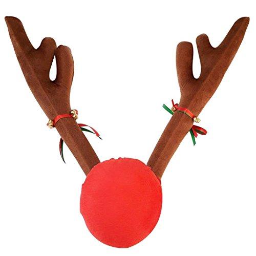 """Tezam rote Plüschnase und braunes Rentier-Geweih für den Kühlergrill und die Seitenscheiben Ihres Autos. Weihnachtliches KFZ Zubehör 43cm (17"""") groß"""
