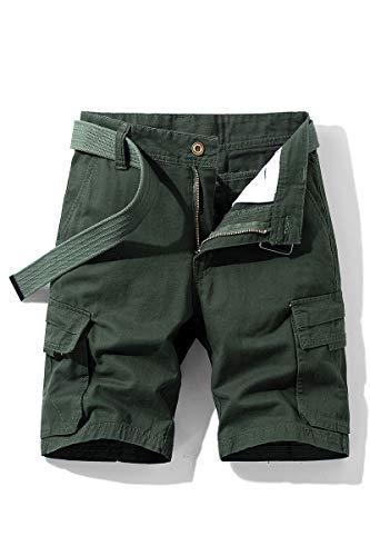 NTNY3 Pantaloni Uomo Corti Bermuda Pantaloni Ragazzo Cargo con Tasche Laterali (Army Green, M)