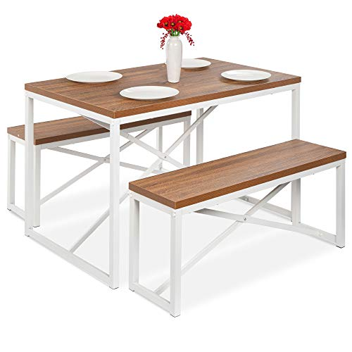 Best Choice Products 45.5in 3-Piece Bench Style Dining Table Furniture Set, 4-Person Space-Saving Dinette for Kitchen, Dining Room w/ 2 Benches, Table - Brown/White