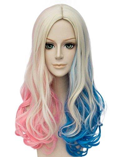 Tsnomore rose et bleu mixte 2 Virage Longs Bouclés cosplay perruque