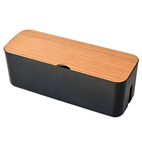 FLAMEER Kabel Organizer Box Kabelbox Schreibtisch-Organizer Kabelmanagement Steckdosenleiste Kabel Aufbewahrungsbox Kunststoffbox, Schutz für Kinder und Haustiere - Schwarz