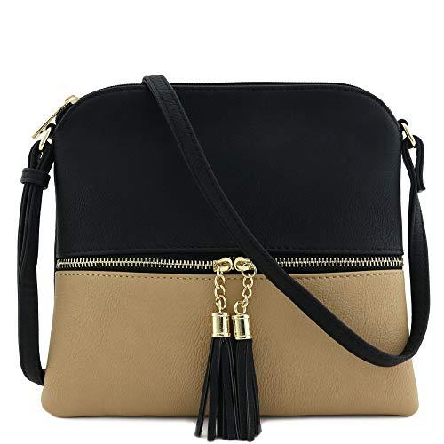 Lightweight Medium Crossbody Bag with Tassel (Black/Taupe)